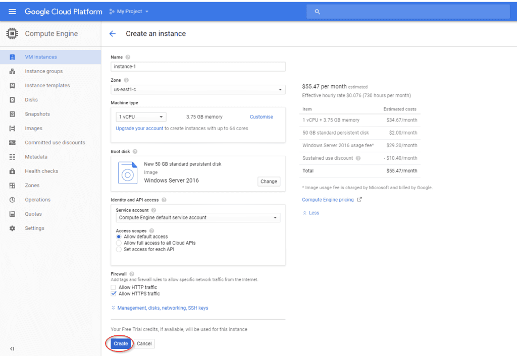 fill out the specifications of your google cloud platform VM