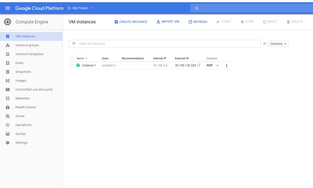 a complete google cloud platform VM instance